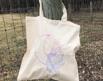 Mermaid Tote Bag | screen printed mermaid tote bag | cotton canvas tote bag