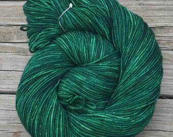 Hand Dyed DK Yarn Treasure of the Emerald Isle Green Hand Painted yarn 274 yards handdyed dk sport weight Superwash Merino Wool swm forest