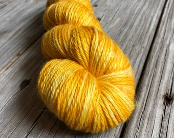 Hand Dyed Treasured DK Luxe Yarn Poseidon's Trident yellow gold colorway 246 yards baby alpaca silk cashmere luxury yarn sport weight