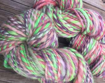 Ahoy me Beauties Handspun yarn Shetland Wool Yarn Bulky Weight Two Ply Spring pastel 2 Ply 100 yards hand spun art yarn ready to ship yarn