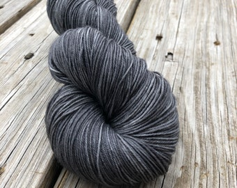 Hand Dyed Sock Yarn, Ghost Ship, Charcoal Gray, Treasured Toes Sock Yarn