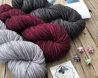 Shawl Knitting KIT | Shawl Crocheting KIT | hand dyed dk yarn