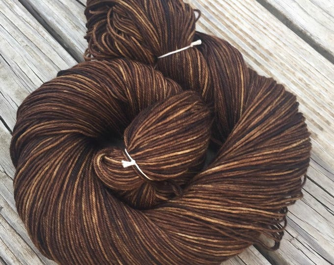 Hand Dyed Sock Yarn Walk the Plank 463 yards superwash merino nylon dark brown pirate ship fingering Treasured Toes ready to ship yarn