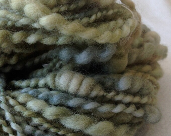 Beehive Coils ART YARN spring green mint Wool handspun artyarn 71 yards treasure goddess stacks cooons Ready to Ship yarn