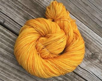 Hand Dyed Sock Yarn Poseidon's Trident Hand Painted sockyarn 463 yards superwash merino nylon gold yellow goldenrod fingering Treasured Toes