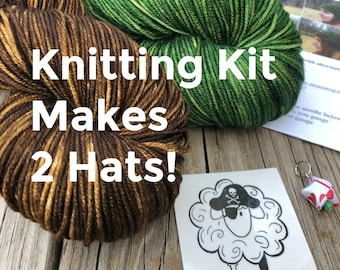 Hat Knitting KIT, DIY Craft Kit, green brown hats, hand dyed DK yarn