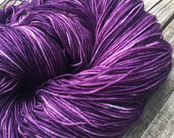 Hand Dyed Sock Yarn Pirates Like Eggplant Too Painted 463 yards purple grape fingering superwash merino nylon Treasured Toes ready to ship