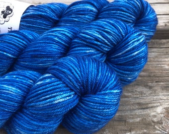 sapphire blue Hand Dyed DK Yarn, silk merino yarn, Swimmin with the Fishes, Silken Purls