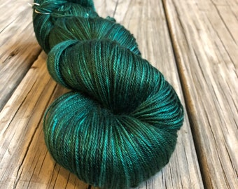 Hand Dyed Silk Yarn, emerald green, Treasure of the Emerald Isle, fingering weight yarn, mulberry silk