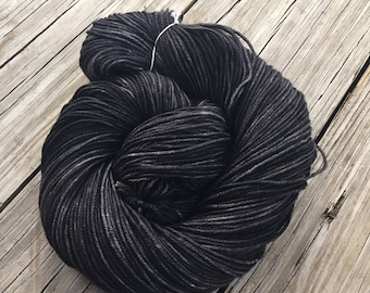 Hand Dyed DK Yarn Gunpowder Black hand painted yarn 274 yards handdyed dk sport superwash merino wool swm charcoal grey black ready to ship