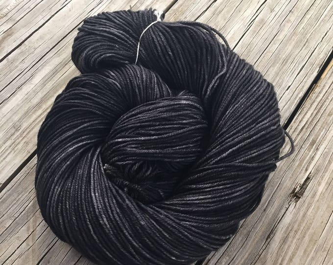Hand Dyed DK Yarn Gunpowder Black hand painted yarn 274 yards handdyed dk sport superwash merino wool swm charcoal grey black ready to ship
