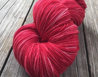 hand dyed Captain Blood Shawl Length Skein Superwash Merino Cashmere Nylon MCN 600 yards fingering red rose ready to ship yarn mcn swm