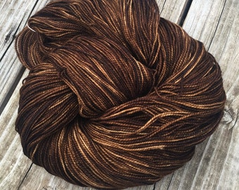 hand dyed sock yarn Walk the Plank Shawl Length Super Skein Superwash Merino Cashmere Nylon MCN 600 yards brown mahogany ready to ship yarn