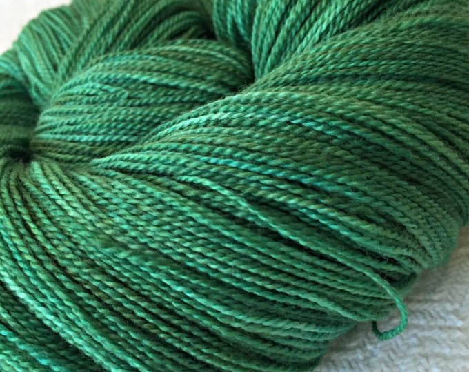 hand dyed merino silk LACE yarn Silk Treasures Treasure of Emerald Isle Green superfine merino silk blend 875 yards treasure goddess