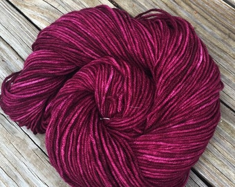 Song of the Sirens Hand Dyed Worsted Weight Yarn Burgandy cranberry Hand Painted yarn 218 yards Superwash Merino Wool treasure goddess swm