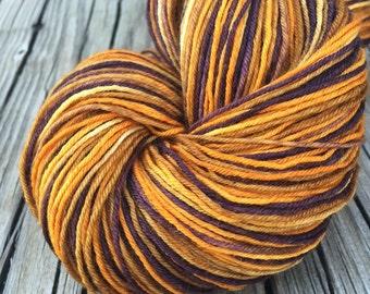Treasure Chest Hand Dyed Sock Weight Yarn gold brown burnt umber orange yarn 463 yards handdyed Superwash Merino nylon swm ready to ship