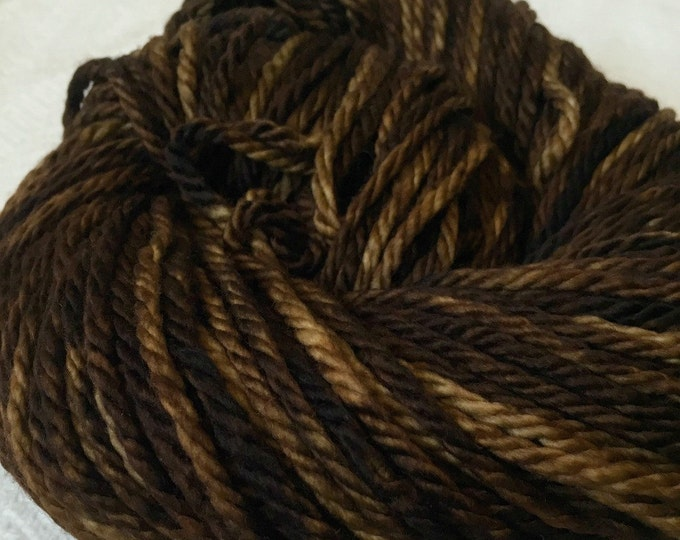Hand Dyed Bulky Yarn Walk the Plank rich brown yarn 100% superwash merino wool 106 yards pirate ship brown bulky chunky ready to ship yarn