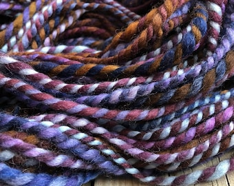 Midnight Wandering Handspun yarn Soft Falkland Wool Yarn Bulky Weight  Two Ply 2 lavender purple brown blue Ply 65 yards ready to ship yarn