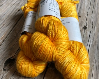 goldenrod yellow cashmere silk alpaca yarn, Hand Dyed DK Yarn, Poseidon's Trident, Treasured DK Luxe