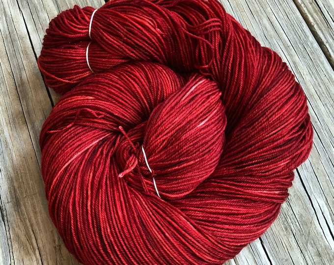Hand Dyed Sock Yarn Ruby Daggers Hand Painted ruby red yarn 463 yards superwash merino nylon fingering weight Treasured Toes swm