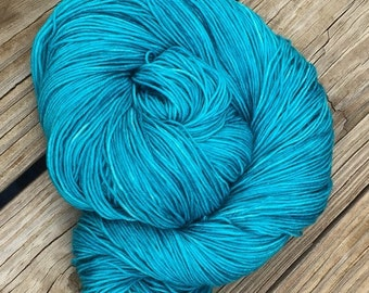 Hand Dyed Sock Weight Yarn Mermaid's Curse turquoise 463 yards hand dyed fingering superwash merino nylon yarn teal ready to ship yarn