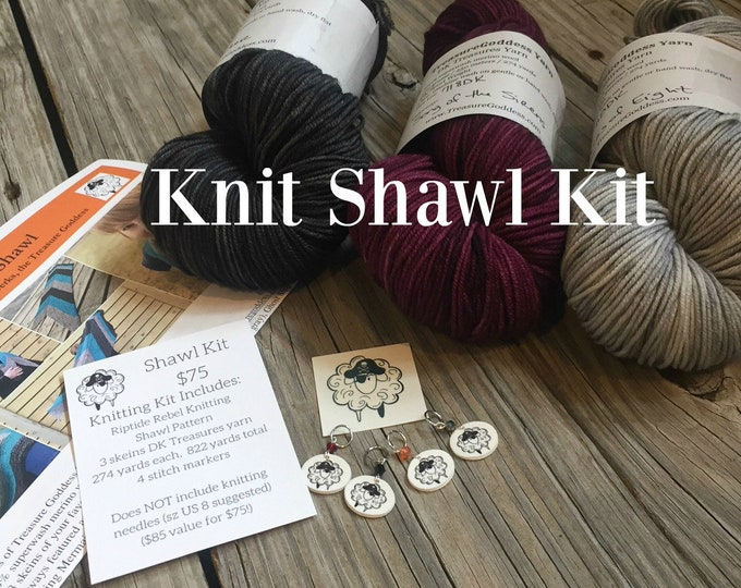 Knitted Shawl KIT - Riptide Rebel Shawl - 3 skeins DK Treasures Yarn, Pattern, stitch markers - Turquoise Silver Gray