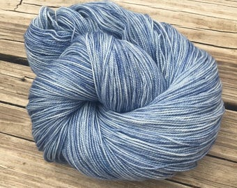 hand dyed sock weight yarn Tempest Shawl Length Super Skein Superwash Merino Cashmere Nylon MCN 600 yards ready to ship yarn sky blue gray