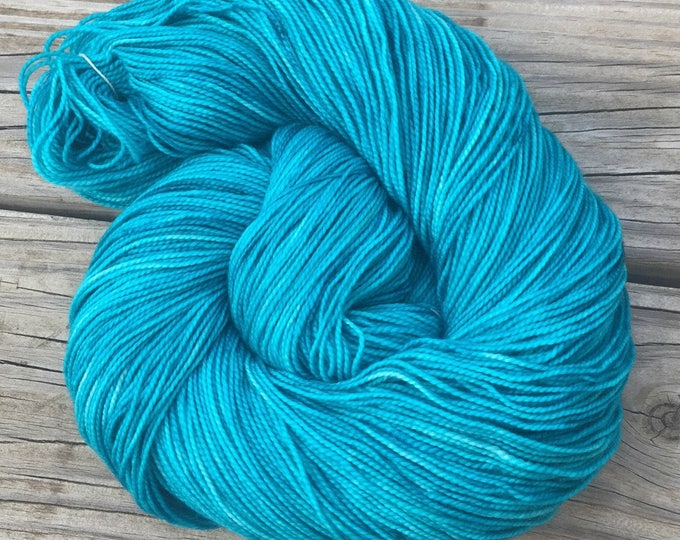 Mermaid's Curse hand dyed sock weight yarn Shawl Length Superwash Merino Cashmere MCN 600 yards ready to ship teal turquoise