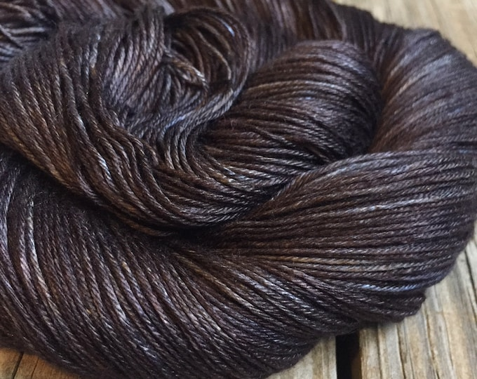 Hand Dyed Pure Silk Fingering Weight Yarn 100% mulberry silk Gunpowder Charcoal Gray Black Grey sock yarn 436 yards ready to ship yarn