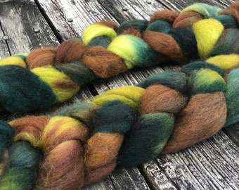 Forest Walk Hand Dyed Shetland Wool combed top spinning fiber spinning fibre forest green spring green chocolate brown roving