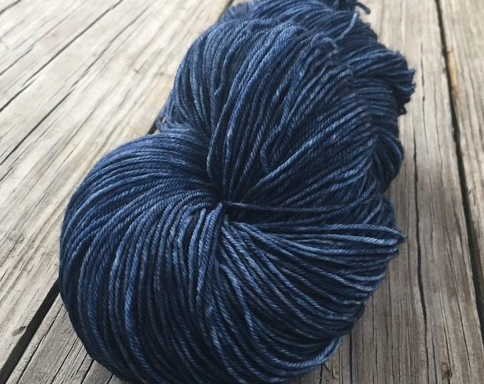 Hand Dyed Sock Yarn Davy Jones Hand Painted sockyarn 463 yards dark navy blue denim fingering weight Treasured Toes swm midnight blue
