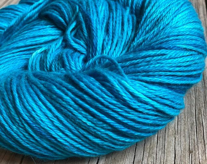 Hand Dyed Treasured DK Luxe Yarn Mermaid's Curse Teal Turquoise Blue Green 246 yards baby alpaca silk cashmere luxury yarn sport weight