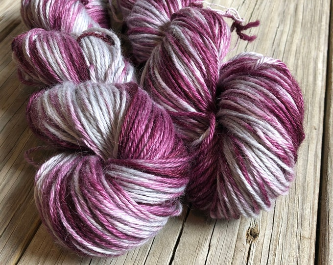 Hand Dyed Treasured DK Luxe Yarn Poseidon's Mutiny Wine Silver colorway 246 yards baby alpaca silk cashmere luxury yarn sport weight