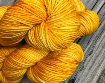 Poseidon's Trident Golden Yellow Orange Yarn Hand Dyed Worsted Weight Yarn 218 yards Superwash Merino Wool ready to ship yarn Hand gold swm