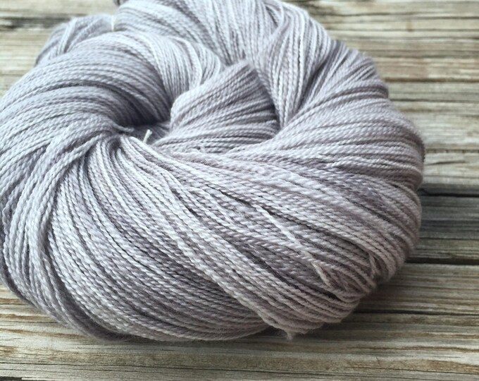 hand dyed lace weight yarn silver merino silk yarn Pieces of Eight Silk Treasures Lace Yarn gray grey moonlight 875 yards super fine merino