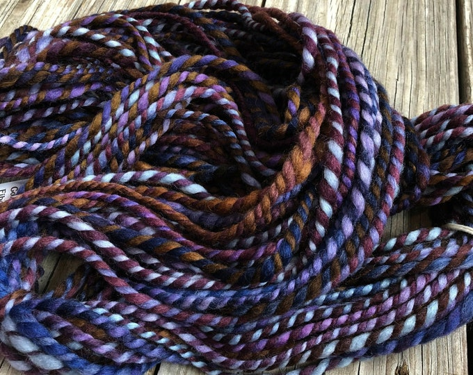 Handspun yarn Falkland Wool Yarn Bulky Weight lilac purple chocolate brown blue burgandy Two Ply 2 Ply 65 yards