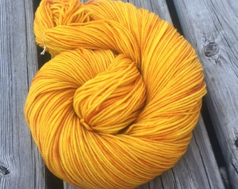 Hand Dyed DK Yarn Poseidon's Trident Goldenrod Painted 274 yards handdyed dk sport weight Superwash Merino Wool gold yellow ready to ship