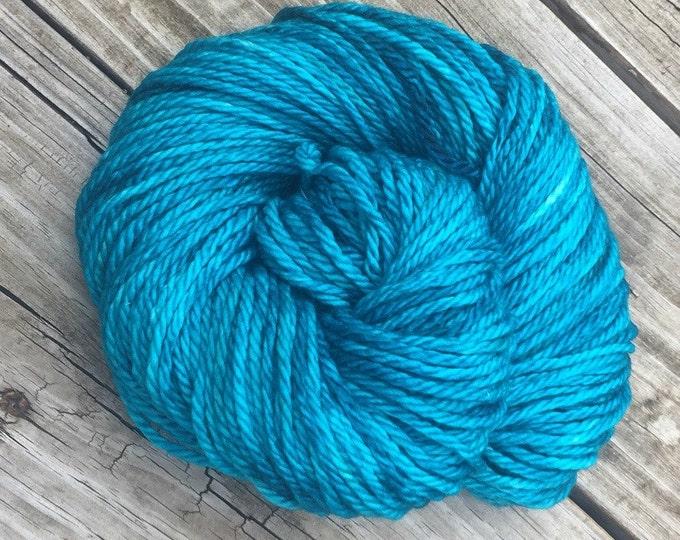 Hand Dyed Bulky Yarn Mermaid's Curse Turquoise yarn 100% superwash merino wool 106 yards blue green teal bulky chunky ready to ship yarn