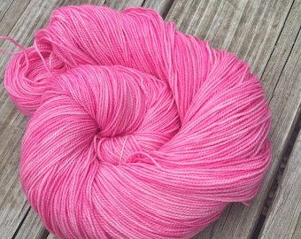 hand dyed sock weight yarn Damsel in Distress Pink Shawl Length Skein Superwash Merino Cashmere MCN 600 yards bubblegum ready to ship yarn