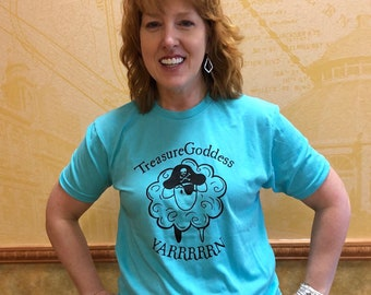 Pirate Sheep YARRRRRN tri blend t-shirt, knitter shirt knitter gift crochet gift pirate yarn