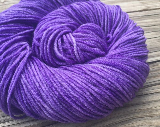 Avast ye Wildcats Purple Hand Dyed Worsted Weight Yarn 218 yards Superwash Merino Wool treasure goddess swm lilac violet ready to ship yarn