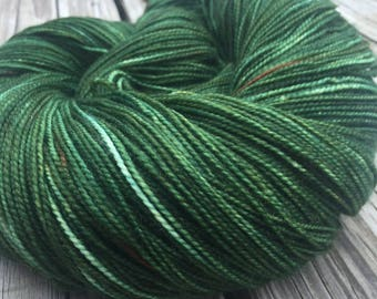hand dyed Everglades Excursion Green Shawl Length Super Skein Superwash Merino Cashmere Nylon MCN 600 yards fingering weight mcn swm forest