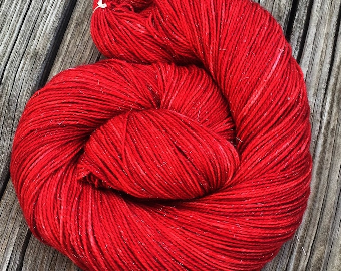 Sparkle Toes Sock Yarn Captain Blood Hand Dyed 438 yards brick red superwash merino nylon stellina fingering swm ruby ready to ship yarn
