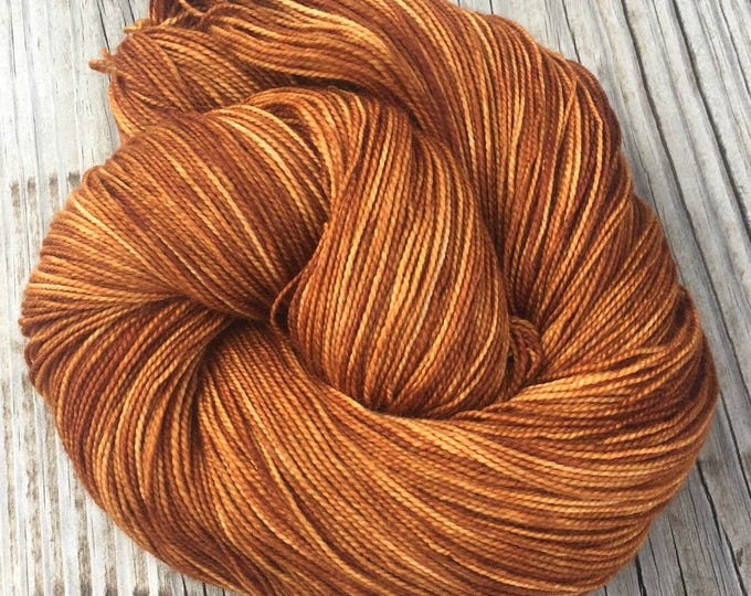 hand dyed sock weight yarn Copper Cove Shawl Length Skein Superwash Merino Cashmere Nylon MCN 600 yards fingering pumpkin rust ready to ship