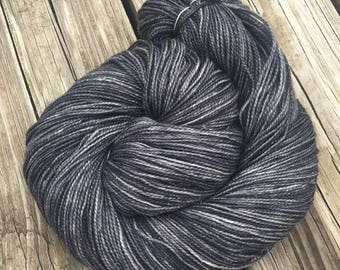 Sparkle Toes Sock Yarn Ghost Ship charcoal gray Hand Dyed 438 yards silver black superwash merino nylon stellina fingering ready to ship