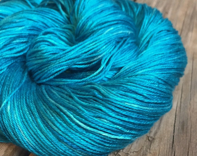 Hand Dyed Pure Silk Fingering Weight Yarn 100% mulberry silk Mermaid's Curse turquoise teal blue green sock yarn 436 yards ready to ship
