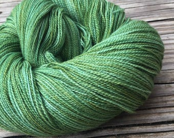 hand dyed lace weight yarn Everglades Excursion green Silk Treasures Lace yarn merino silk 875 yards ready to ship yarn forest spring olive