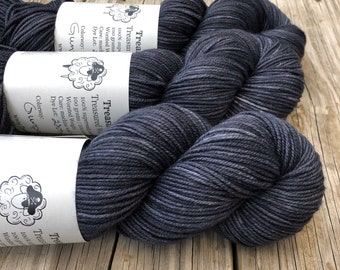 charcoal gray black Hand Dyed Worsted Weight Yarn, Gunpowder, Treasured Warmth