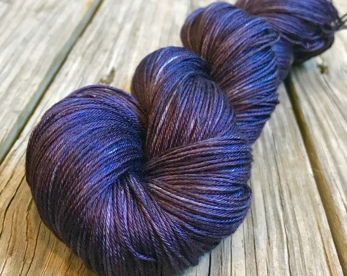 Leviathan Deep Dark Purple Hand Dyed Pure Silk Fingering Weight Yarn 100% mulberry silk sock yarn 436 yards luxury silk yarn Ready to Ship