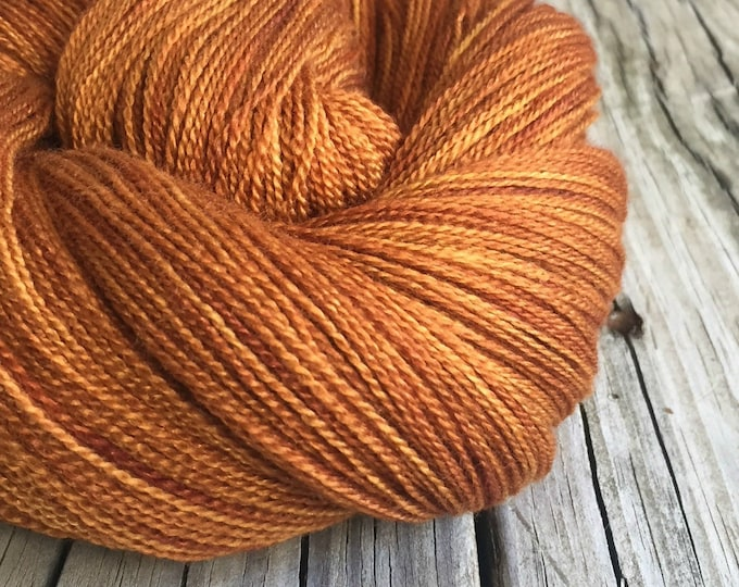 hand dyed lace weight yarn Copper Cove Silk Treasures Lace yarn merino silk 875 yards hand dyed yarn orange rust pumpkin spice ready to ship